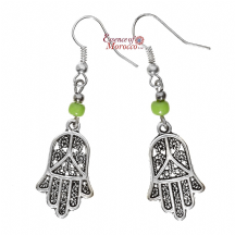 Moroccan Silver Earrings with Green Beads Hamsa Design